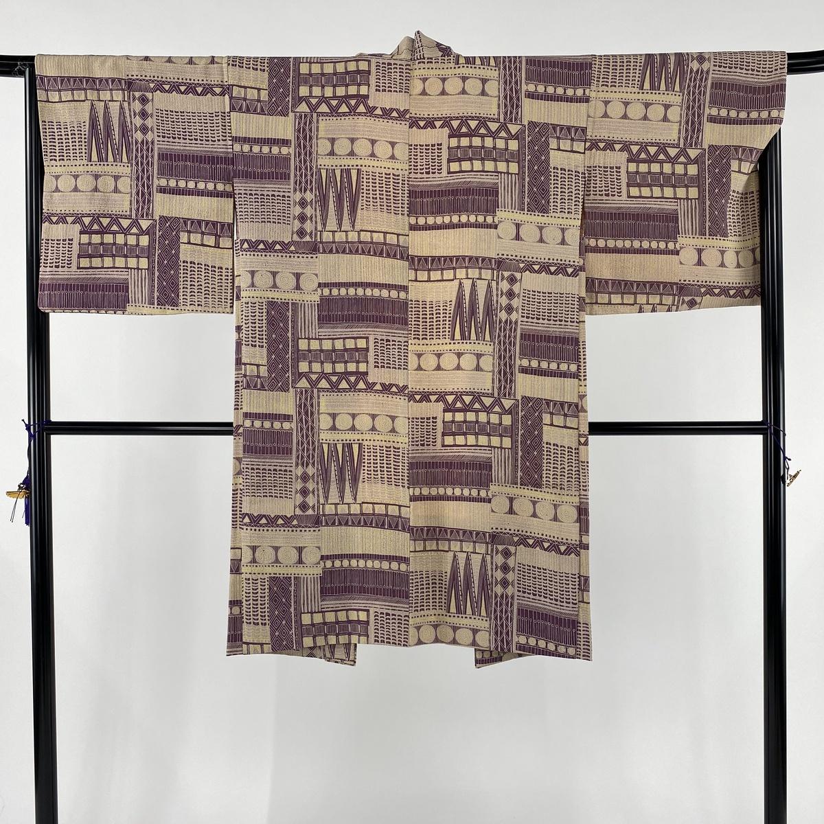 羽織 逸品 幾何学 紫 身丈106cm 裄丈66cm M 正絹 【中古】