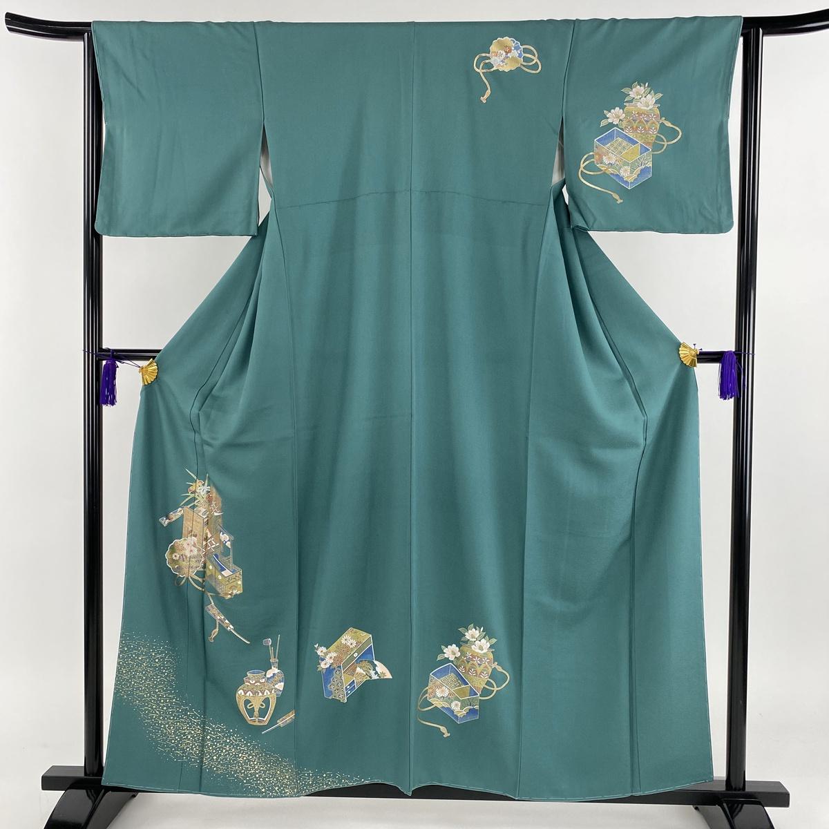 付下げ 美品 秀品 置物 扇 金彩 緑 袷 身丈158.5cm 裄丈63.5cm S 正絹 【中古】