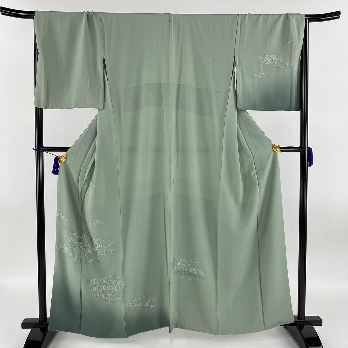 訪問着 秀品 一つ紋 華文 霞 汕頭刺繍 金糸 薄緑 袷 身丈160.5cm 裄丈68cm L 正絹 【中古】