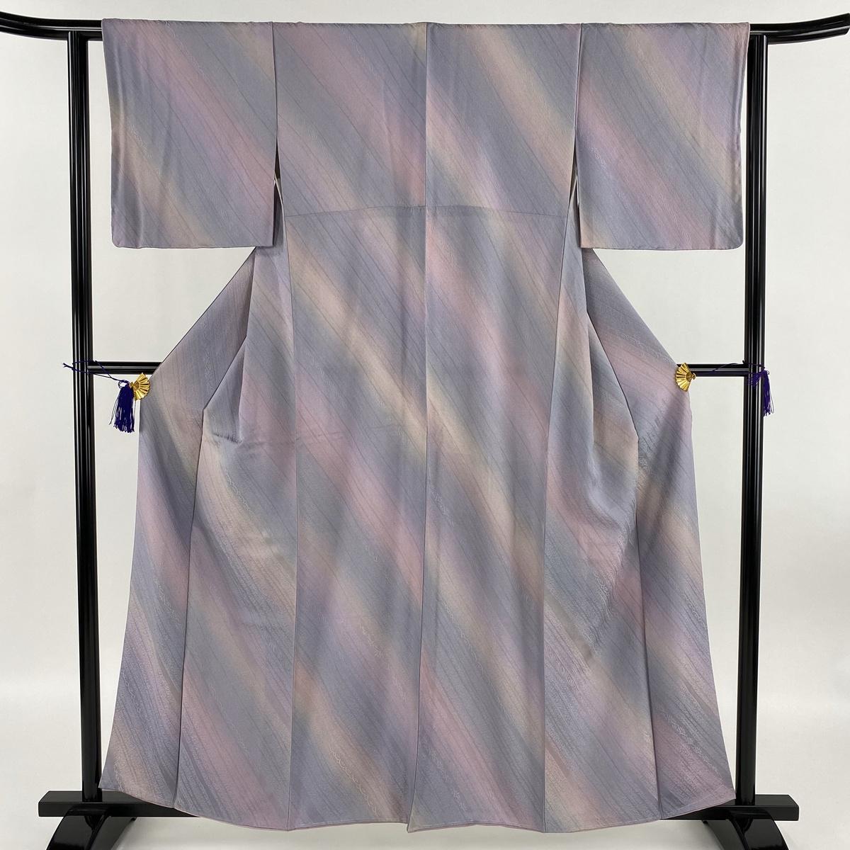 小紋 美品 秀品 斜めぼかし 幾何学 薄紫 袷 身丈159cm 裄丈63cm S 正絹 【中古】