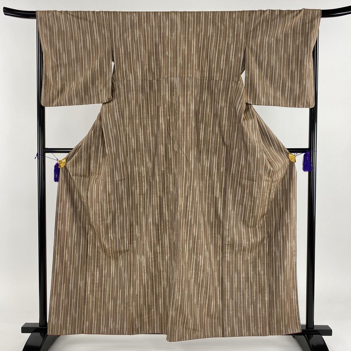 紬 美品 秀品 縦縞 茶色 袷 身丈160.5cm 裄丈67cm M 正絹 【中古】