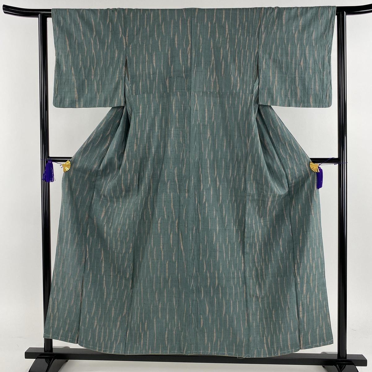 小紋 美品 名品 紬地 幾何学 絞り 薄緑 袷 身丈155.5cm 裄丈62cm S 正絹 【中古】