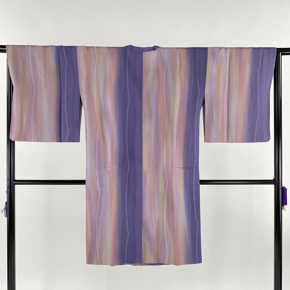道行 美品 名品 和装コート 都衿 縦ぼかし 幾何学模様 紫 身丈106cm 裄丈66.5cm M 正絹 【中古】