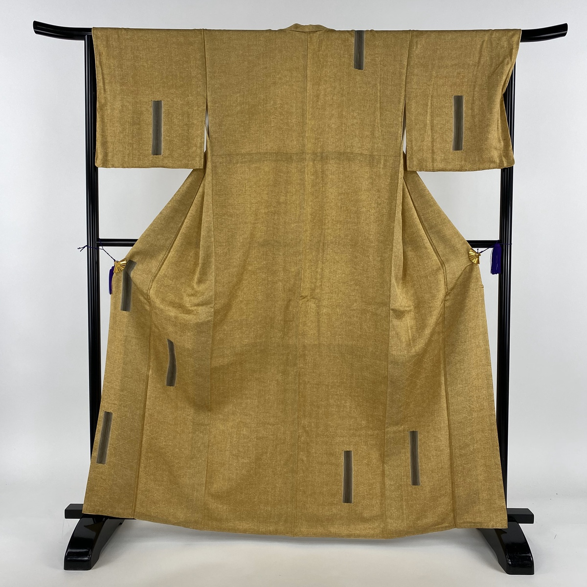 付下げ 美品 秀品 幾何学 黄土色 袷 身丈164.5cm 裄丈67cm M 正絹 【中古】