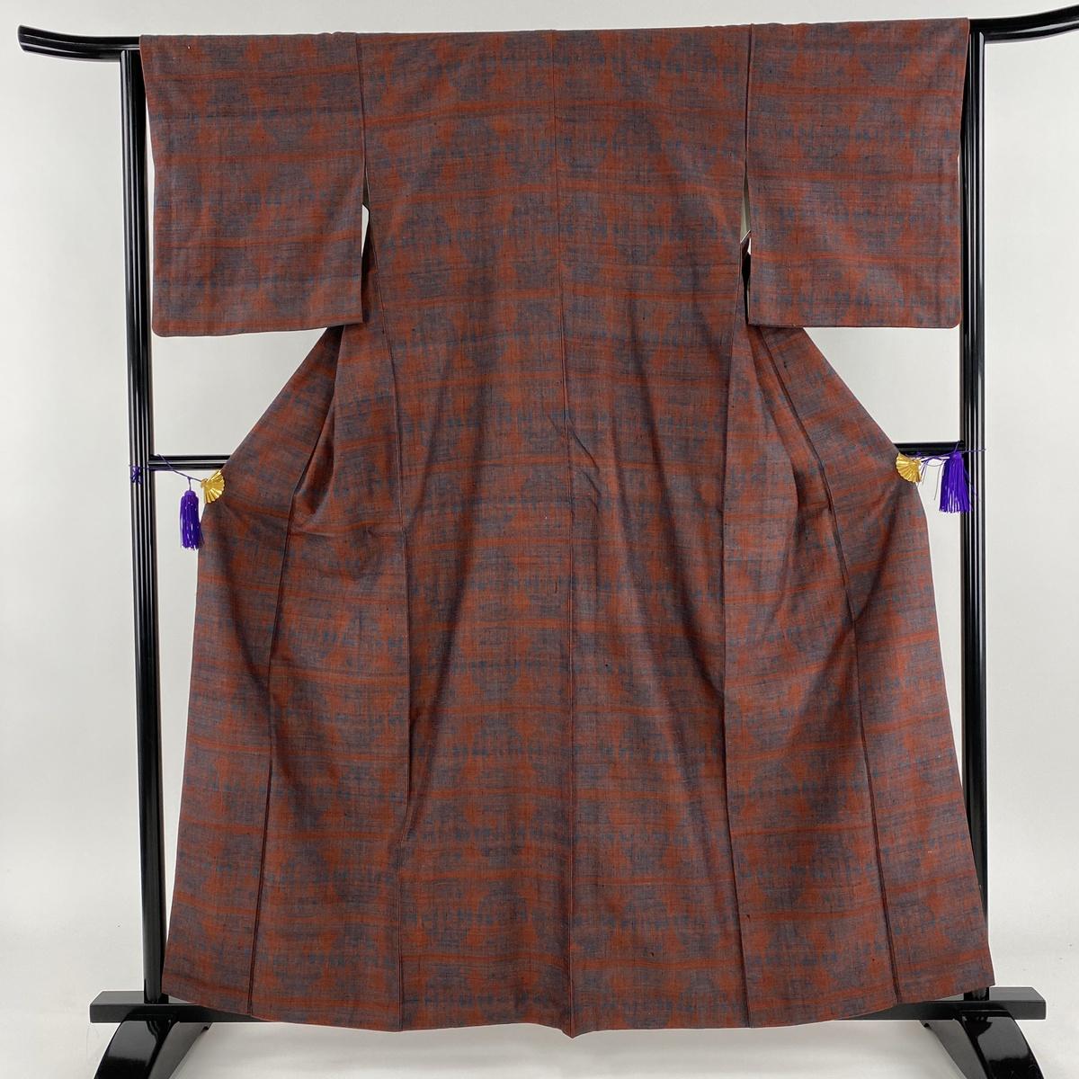 紬 美品 秀品 幾何学 赤茶 袷 身丈161cm 裄丈64cm M 正絹 【中古】