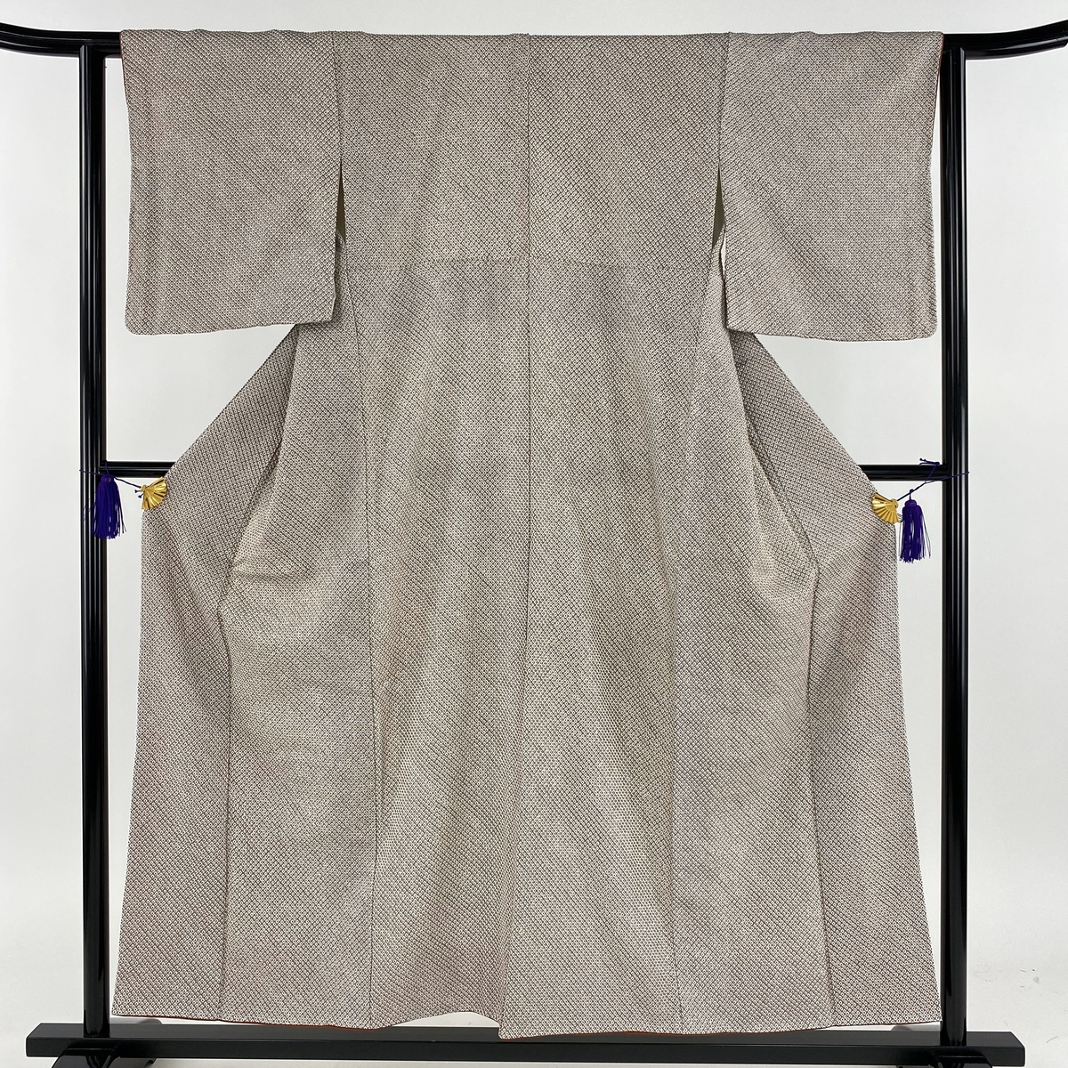 小紋 美品 秀品 総絞り 灰茶 袷 身丈155cm 裄丈62cm S 正絹 【中古】