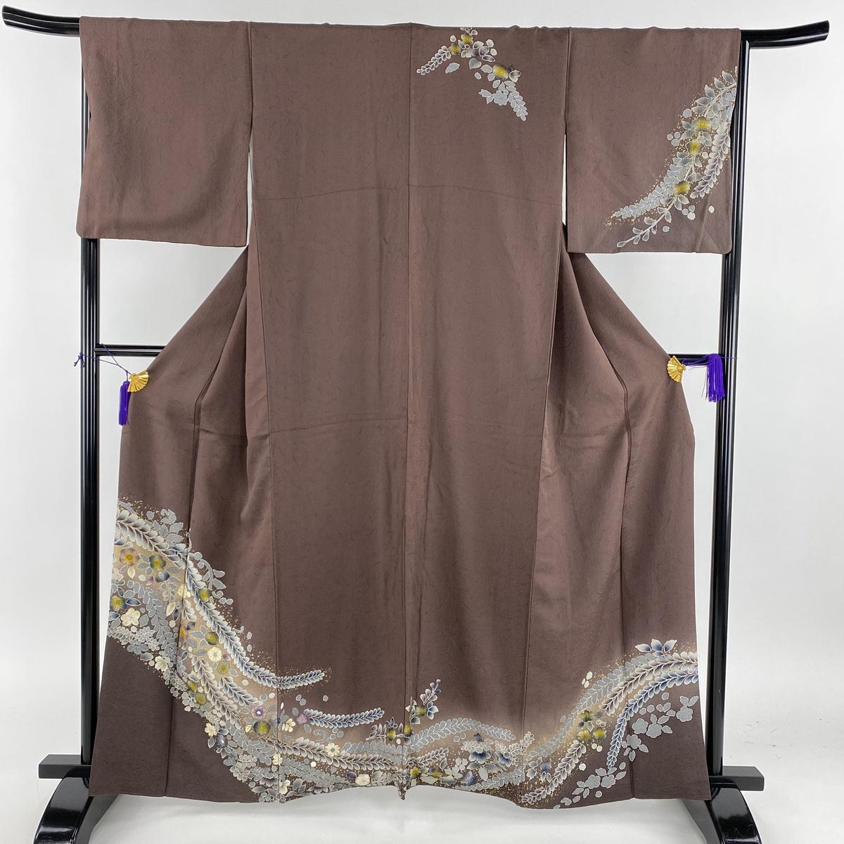 訪問着 名品 辻が花柄 ぼかし 金彩 小豆色 袷 身丈160cm 裄丈65.5cm M 正絹 【中古】