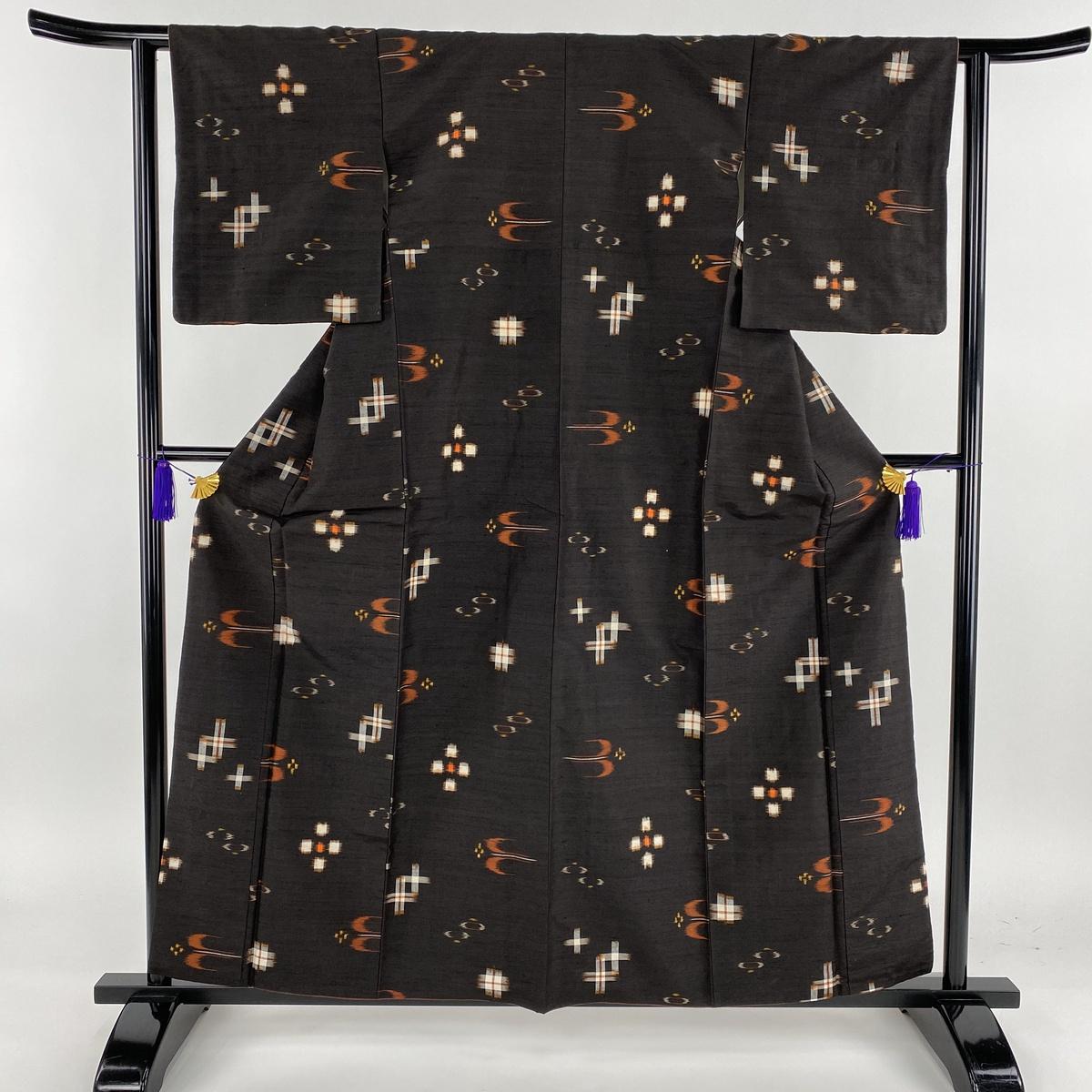 紬 美品 名品 燕 井桁絣 焦茶色 袷 身丈159.5cm 裄丈62cm S 正絹 【中古】