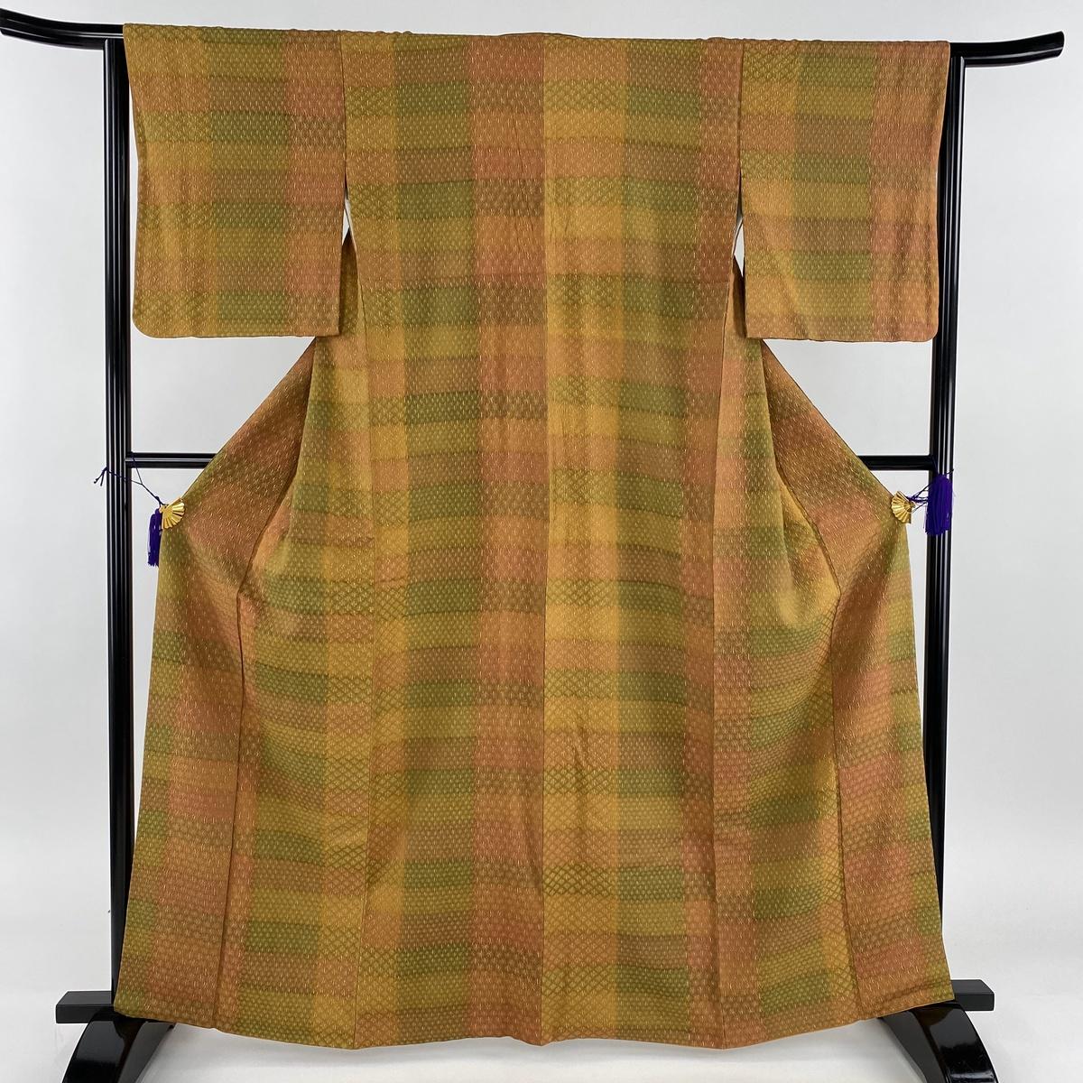 小紋 美品 秀品 縞 幾何学 金彩 茶緑色 袷 身丈163cm 裄丈63.5cm S 正絹 【中古】