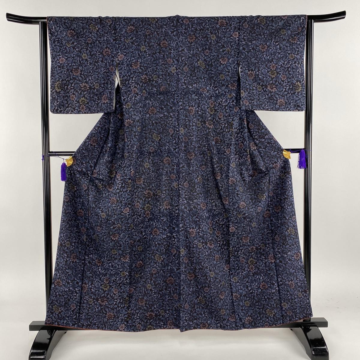 小紋 美品 秀品 紬地 草花 藍色 袷 身丈160.5cm 裄丈63cm S 正絹 【中古】