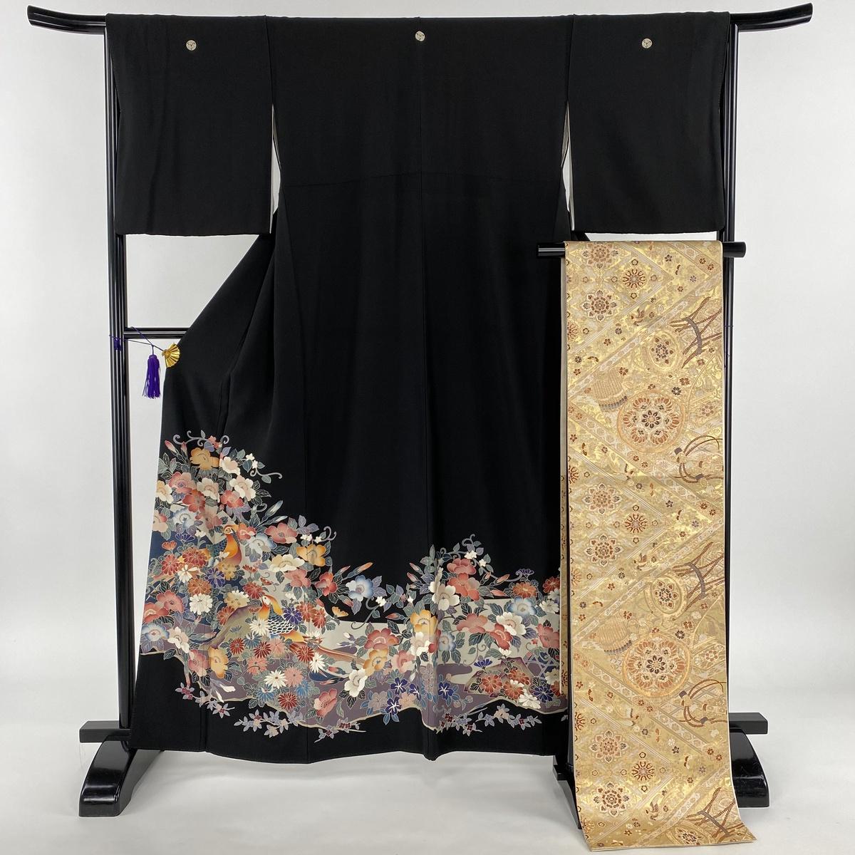 黒留袖 美品 秀品 落款あり 袋帯セット 草花 鳥 黒 袷 身丈161.5cm 裄丈65.5cm M 正絹 【中古】