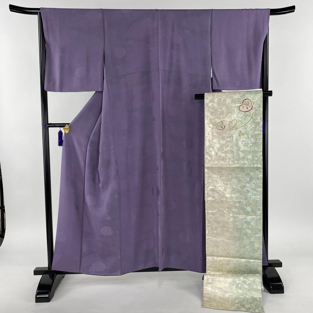 色無地 美品 秀品 袋帯セット 地紋 紫 袷 身丈157.5cm 裄丈66.5cm M 正絹 【中古】