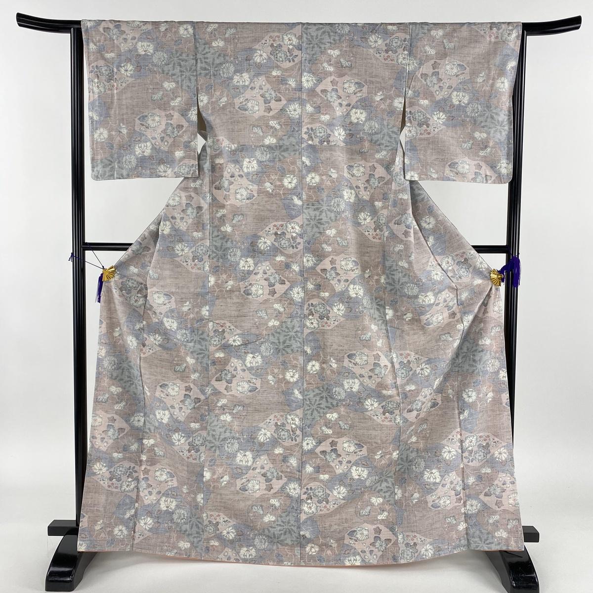 紬 美品 秀品 辻が花柄 薄紫 袷 身丈169.5cm 裄丈64cm M 正絹 【中古】
