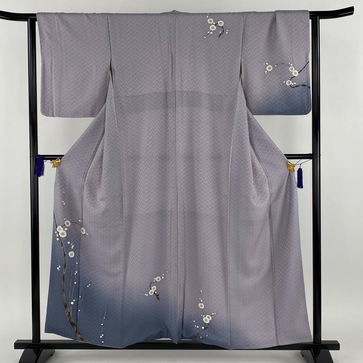 付下げ 名品 枝花 金彩 ぼかし 薄紫 袷 身丈157cm 裄丈63.5cm S 正絹 【中古】