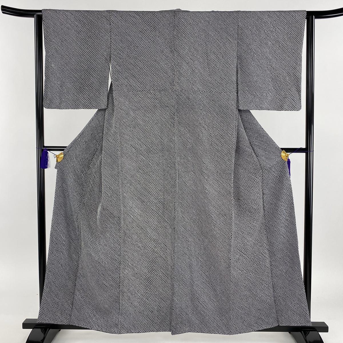 小紋 名品 総絞り 黒 袷 身丈159cm 裄丈63.5cm S 正絹 【中古】