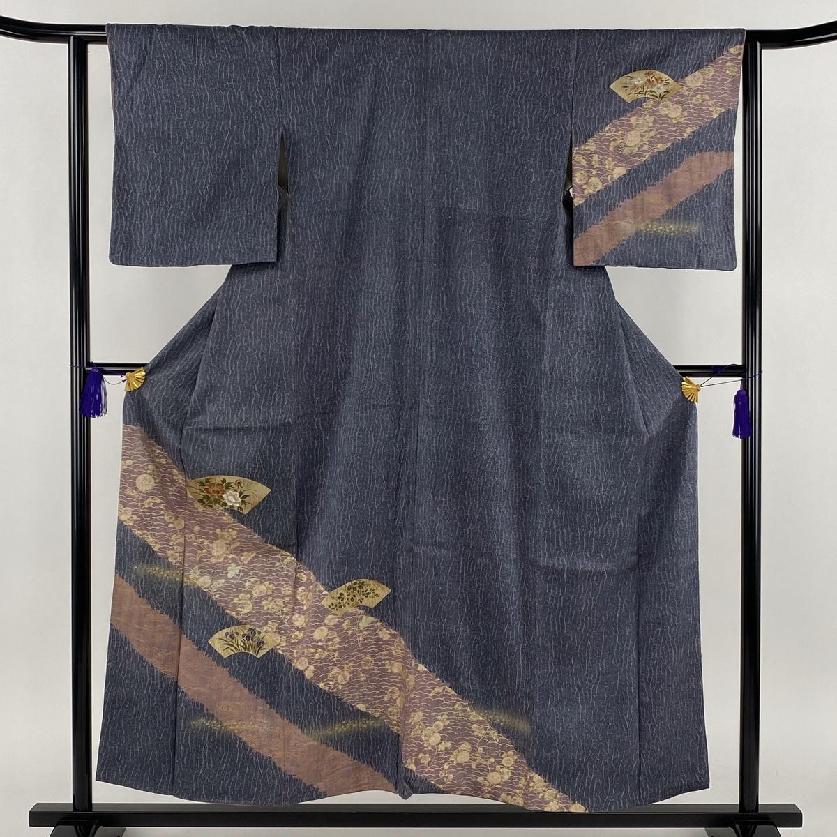 訪問着 名品 地紙 草花 金彩 縫い締め絞り 青灰色 袷 身丈156cm 裄丈62cm S 正絹 【中古】