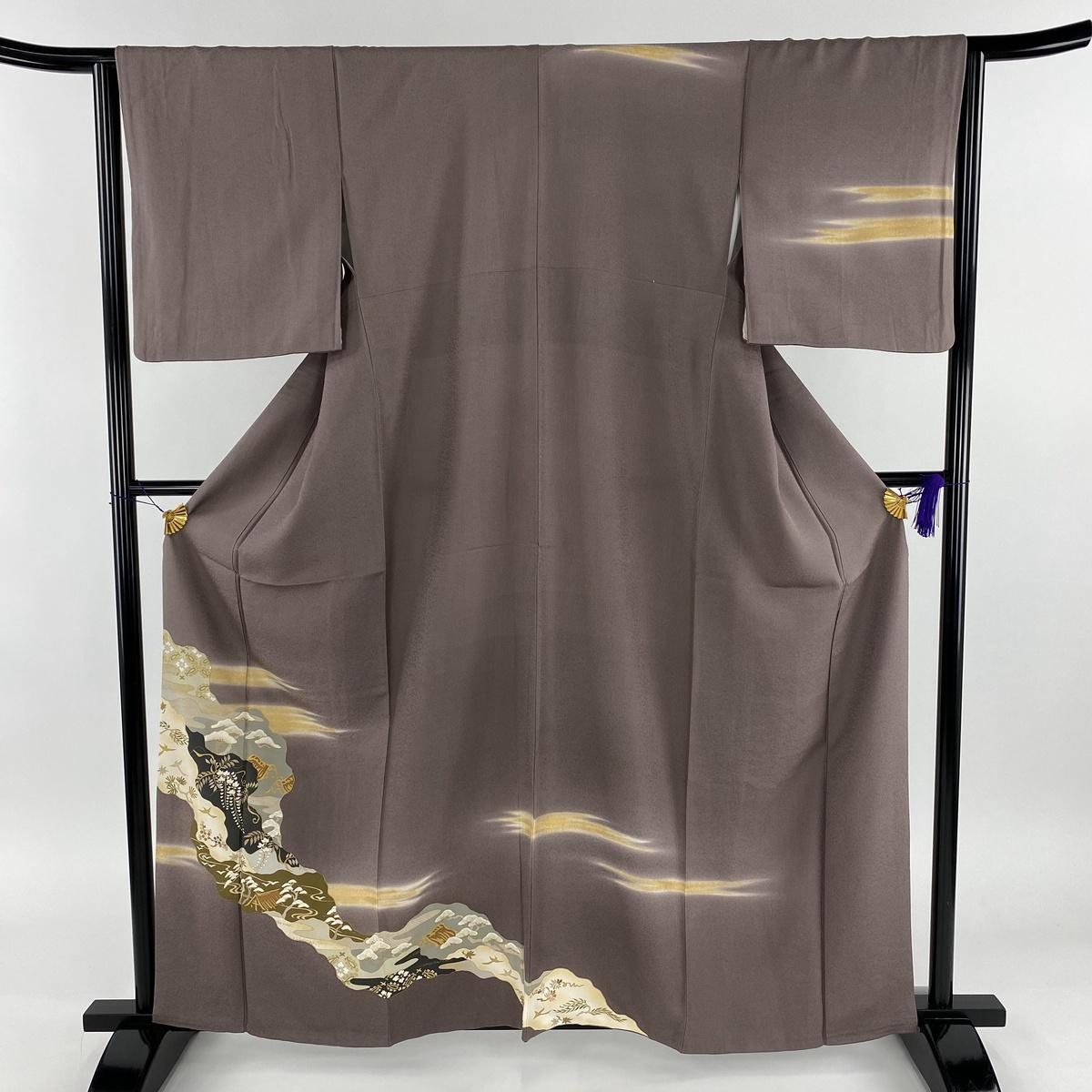 訪問着 美品 名品 道長取り 風景 金彩 灰紫 袷 身丈160cm 裄丈64.5cm M 正絹 【中古】