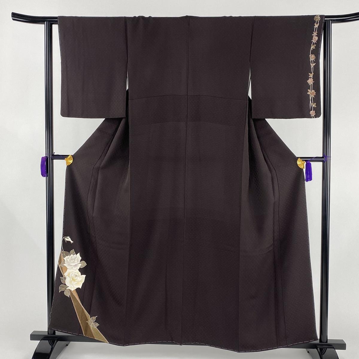 付下げ 美品 逸品 薔薇 金彩 茶紫 袷 身丈159cm 裄丈63.5cm S 正絹 【中古】