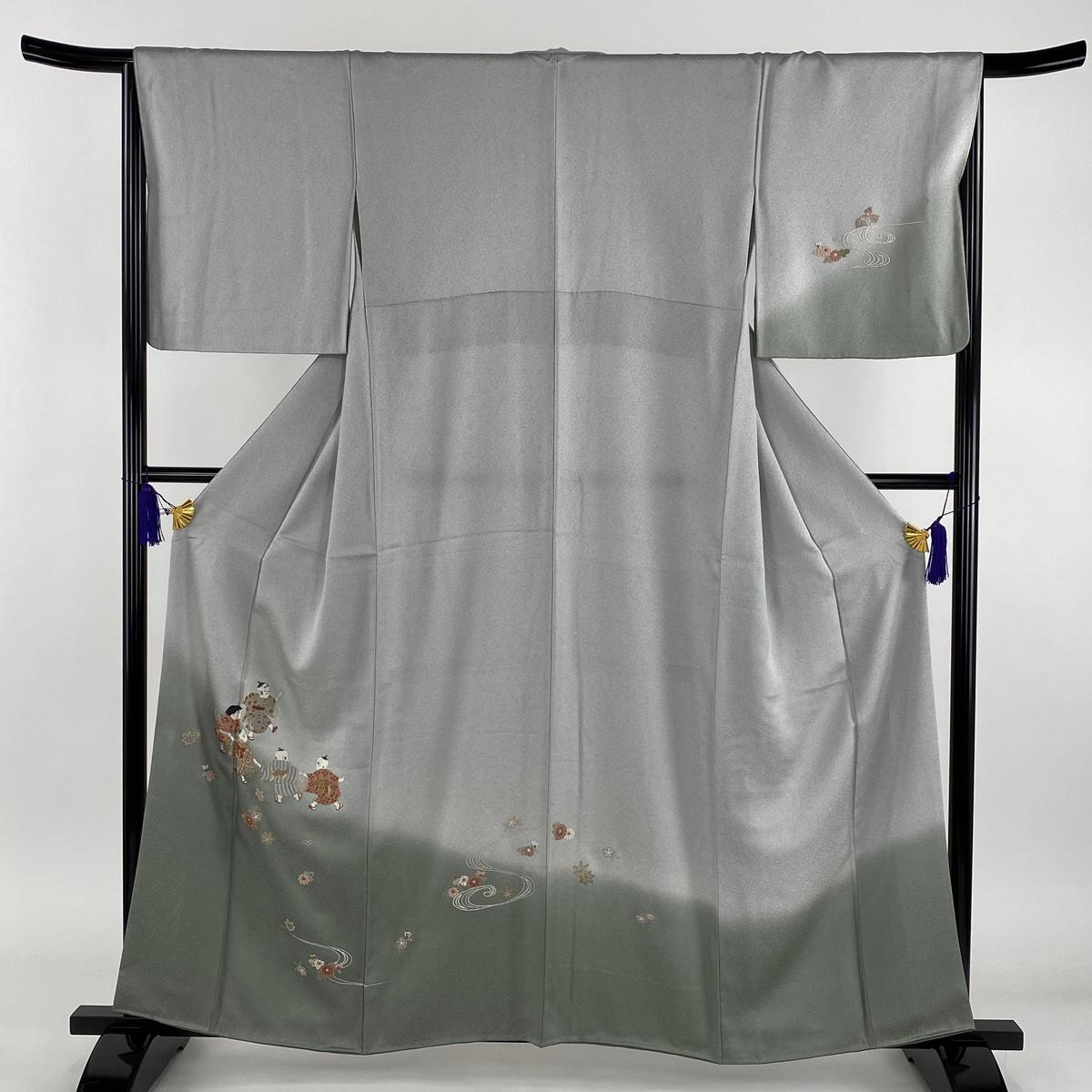 訪問着 秀品 童 草花 相良刺繍 灰色 袷 身丈159cm 裄丈66.5cm M 正絹 【中古】