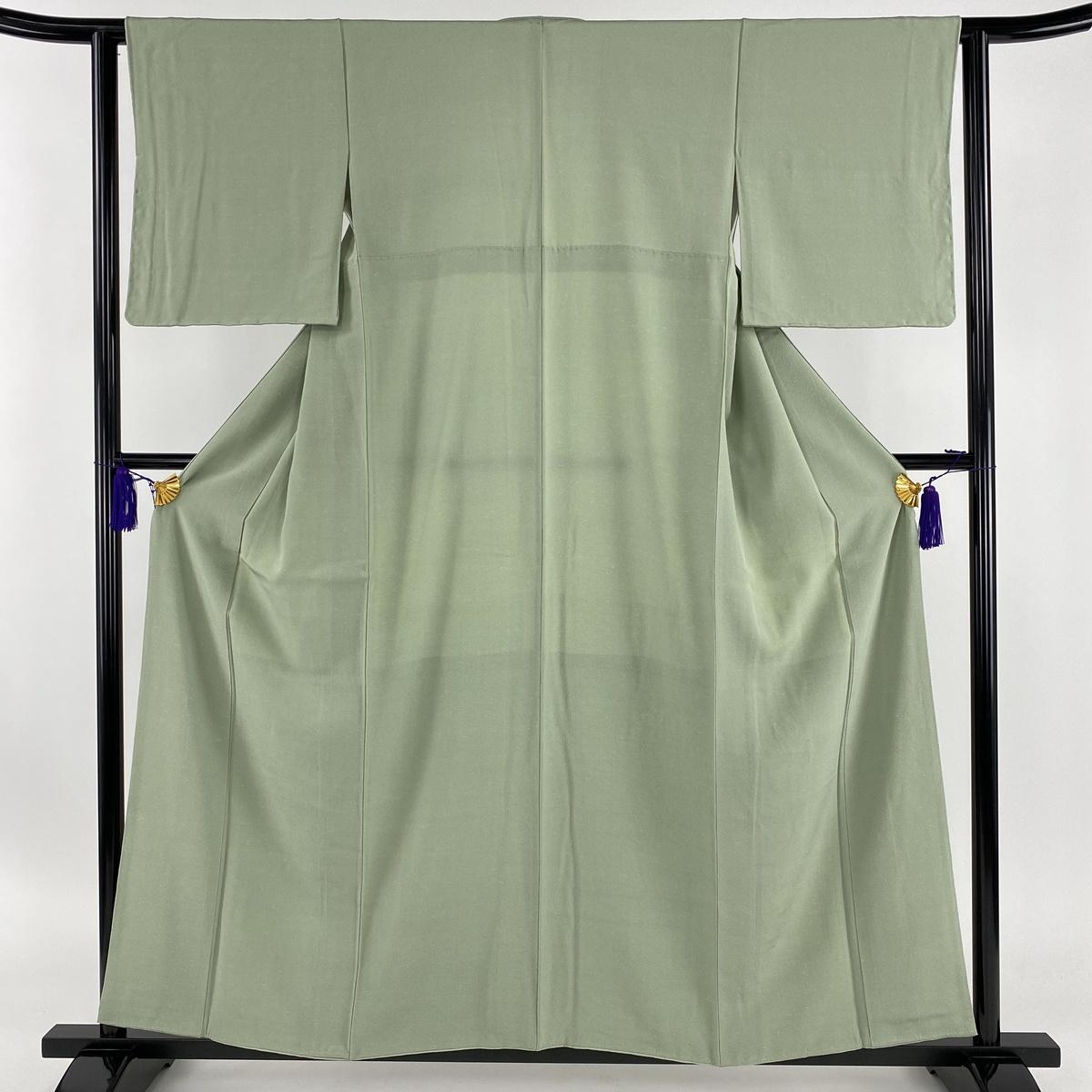色無地 美品 秀品 薄緑 袷 身丈157.5cm 裄丈61cm S 正絹 【中古】