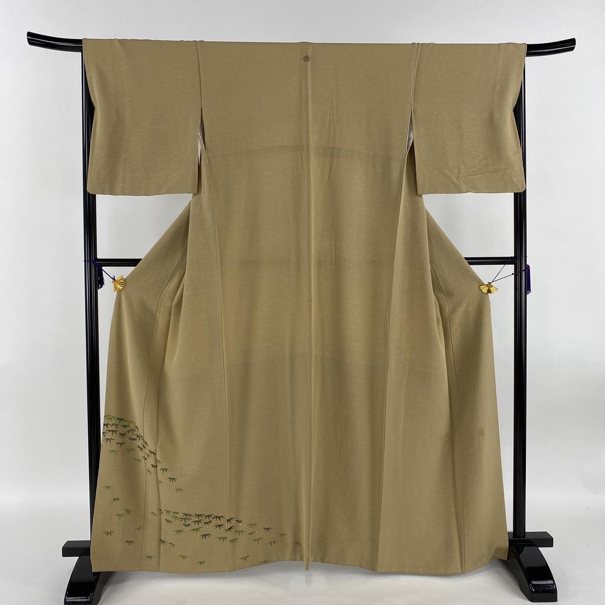 付下げ 名品 落款あり 一つ紋 笹 薄茶色 袷 身丈162.5cm 裄丈67cm M 正絹 【中古】