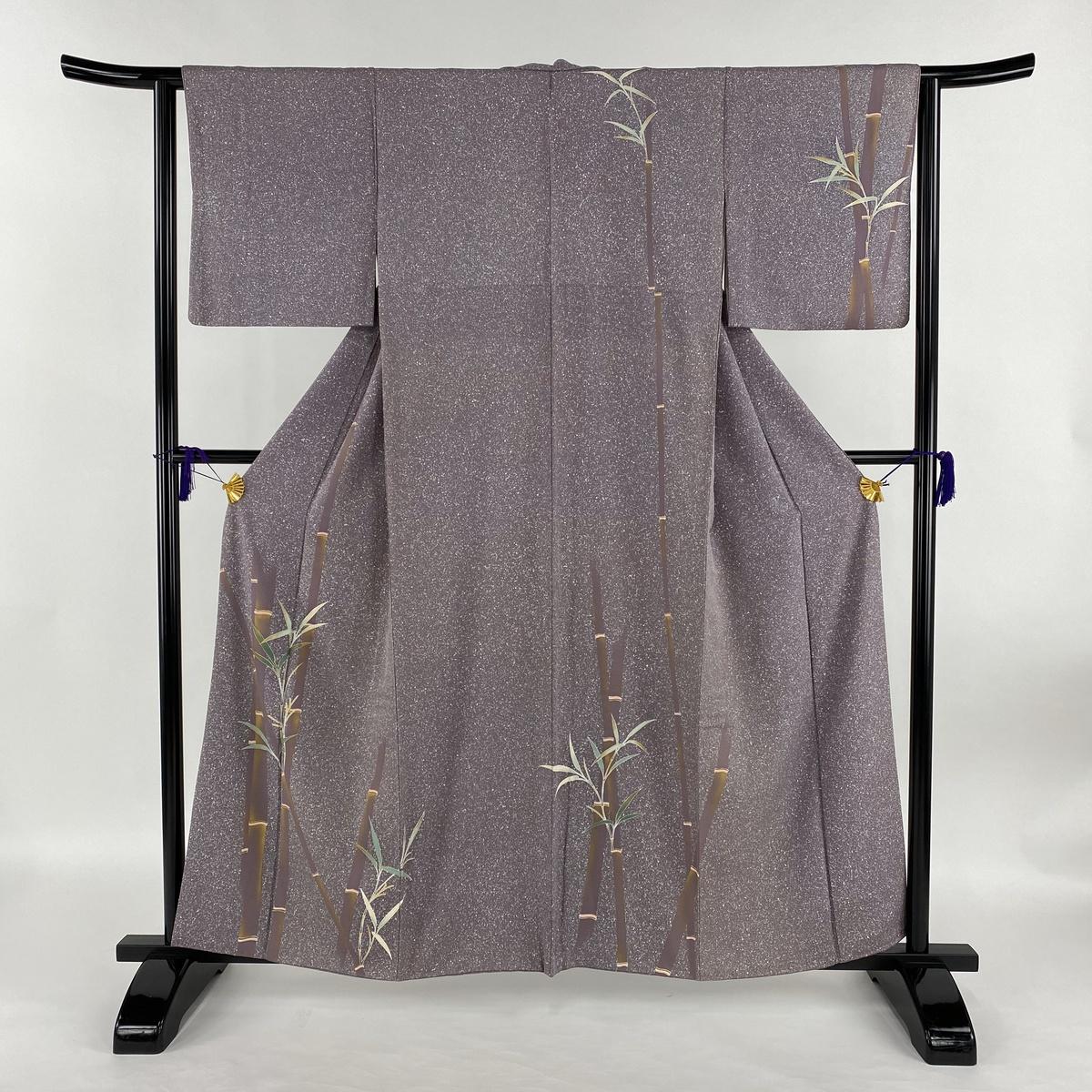 訪問着 名品 竹 たたき染め風 金彩 紫 袷 身丈158.5cm 裄丈63cm S 正絹 【中古】