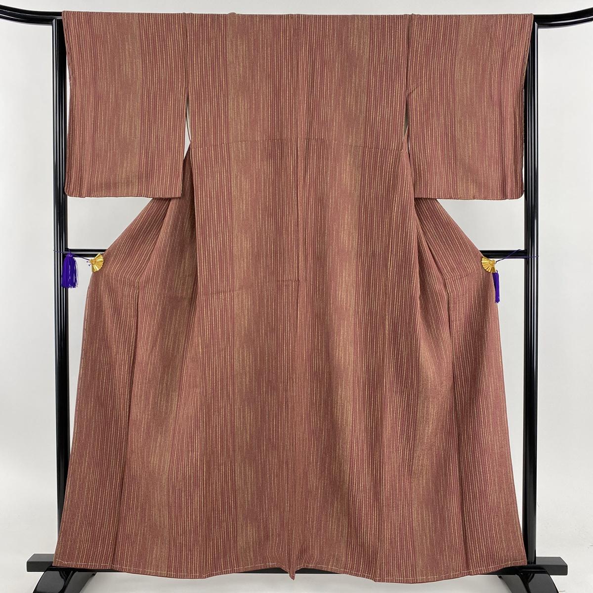 小紋 美品 秀品 縦縞 幾何学 赤紫 袷 身丈158cm 裄丈65cm M 正絹 【中古】