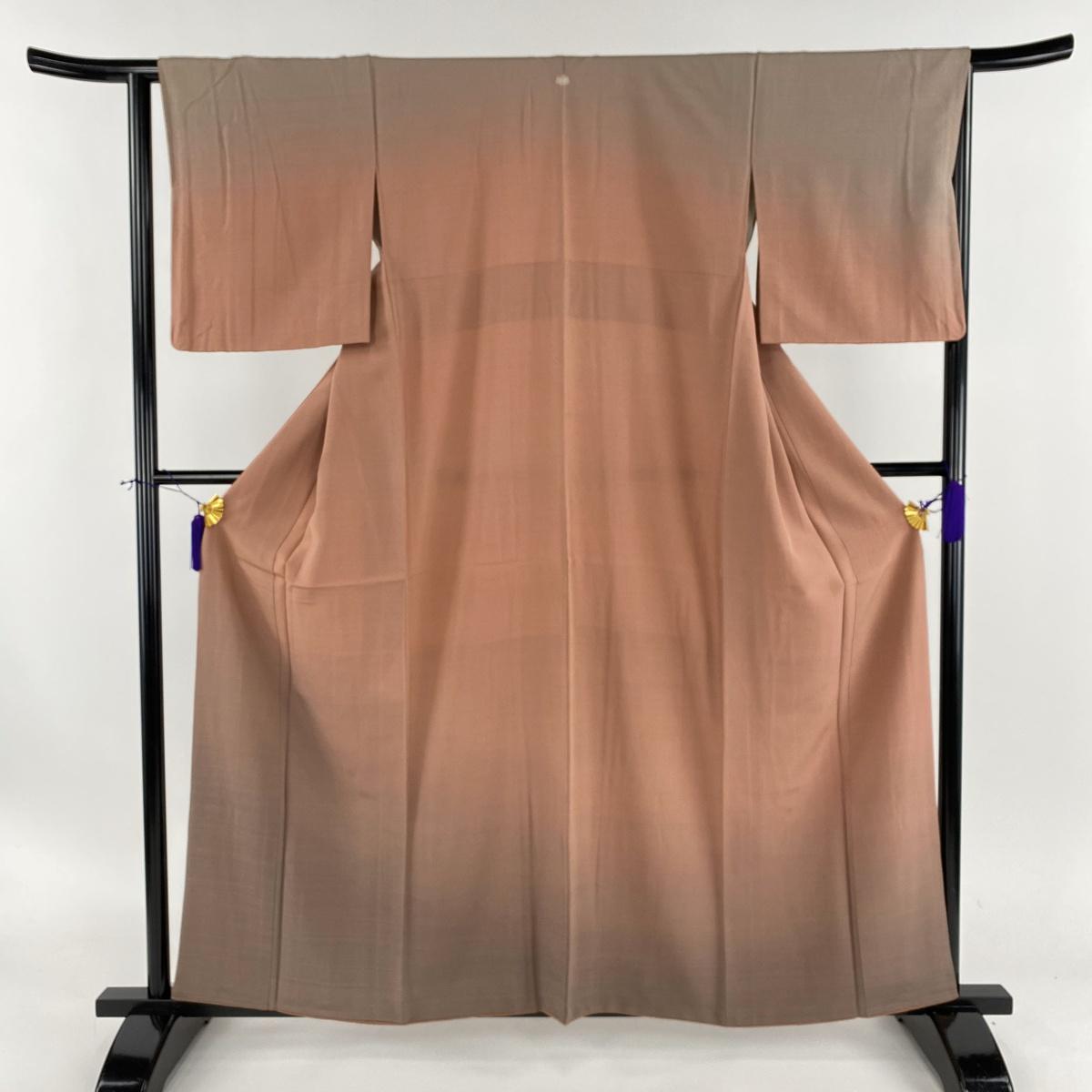 付下げ 美品 秀品 一つ紋 ぼかし 小豆色 袷 身丈159.5cm 裄丈64.5cm M 正絹 【中古】