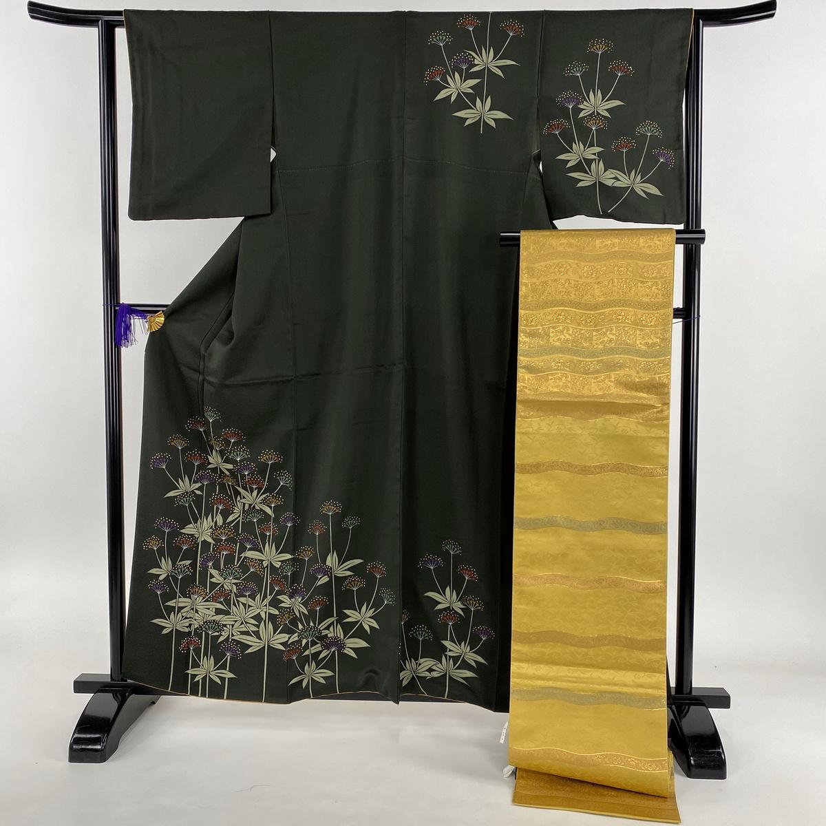 着物セット 美品 秀品 袋帯セット 草花 金彩 深緑 袷 身丈160cm 裄丈63cm S 正絹 【中古】