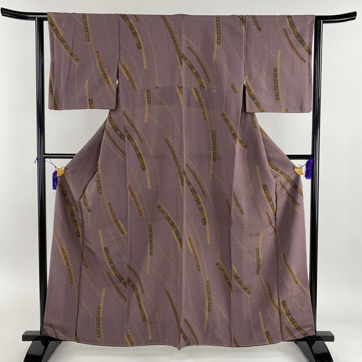 小紋 美品 秀品 草花 幾何学 金彩 紫 袷 身丈161cm 裄丈62cm S 正絹 【中古】