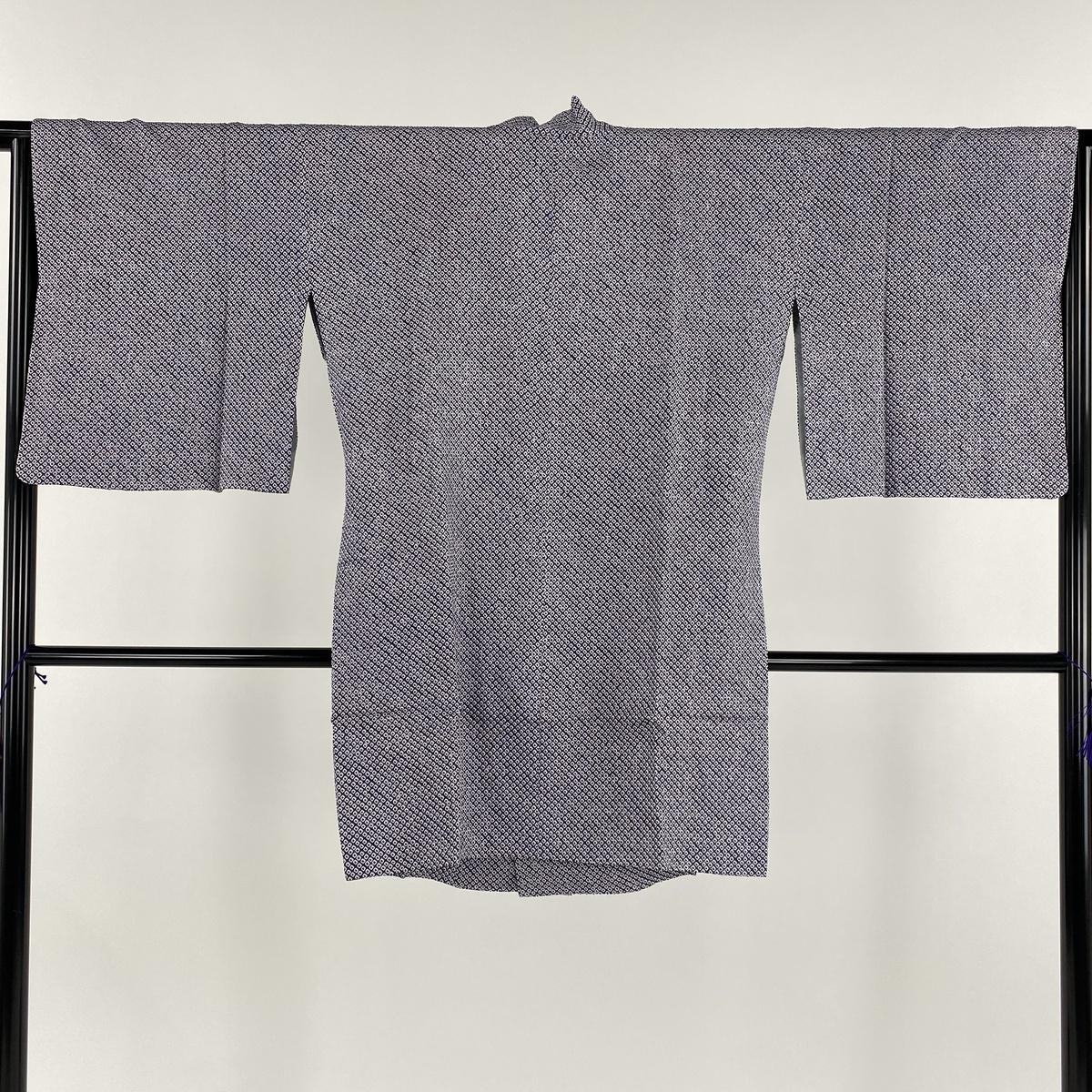 道行 美品 名品 和装コート 着物衿 鹿の子絞り 総絞り 紫 身丈92.5cm 裄丈65.5cm M 正絹 【中古】