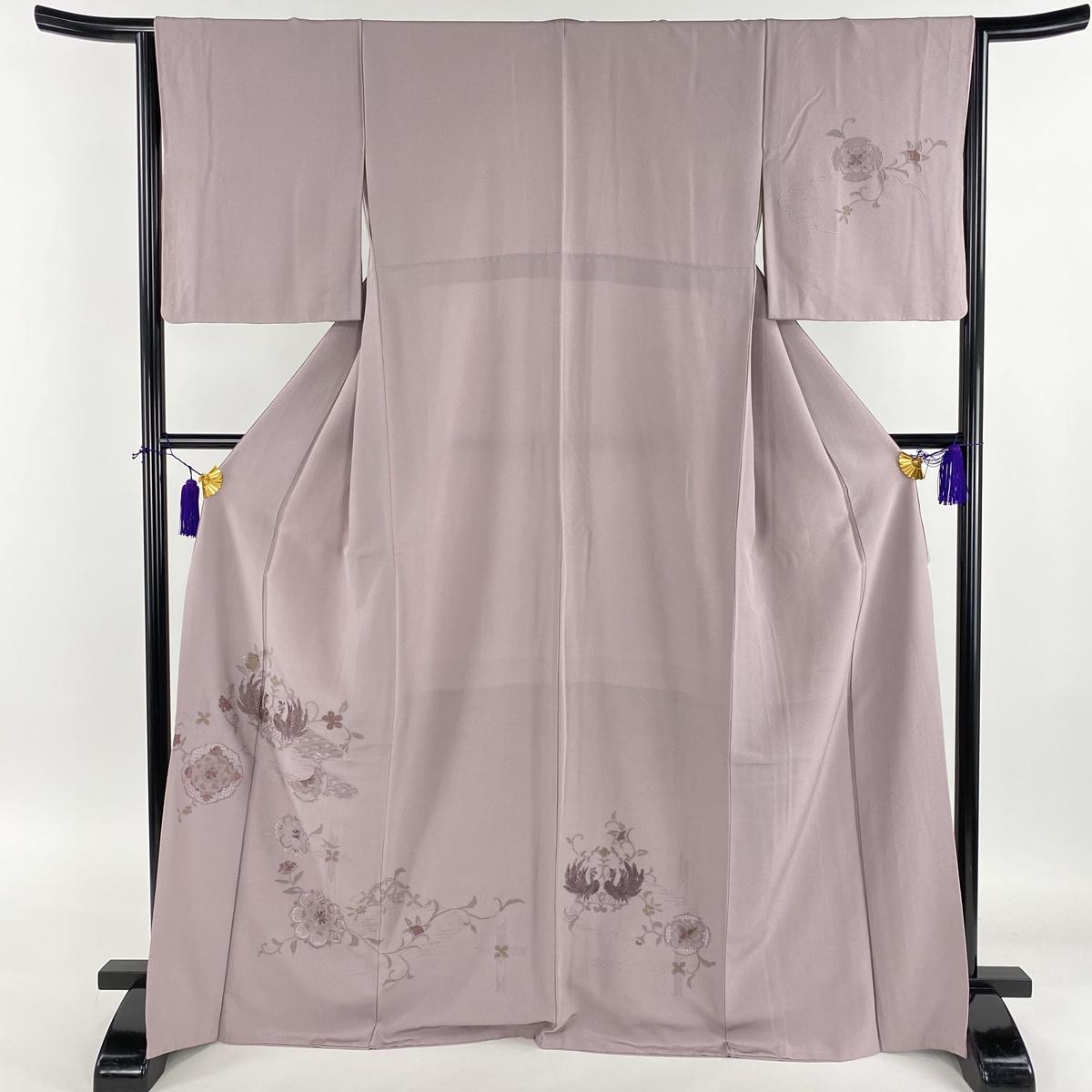 訪問着 美品 名品 向い鳳凰 華文 刺繍 汕頭刺繍 薄紫 袷 身丈169.5cm 裄丈65cm M 正絹 【中古】