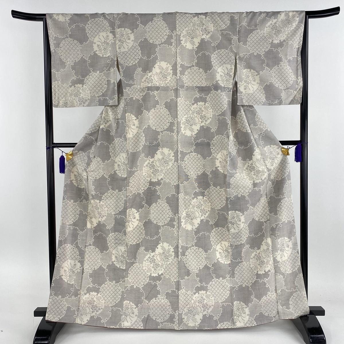 紬 美品 名品 雪輪 草花 灰紫 袷 身丈165cm 裄丈65.5cm M 正絹 【中古】