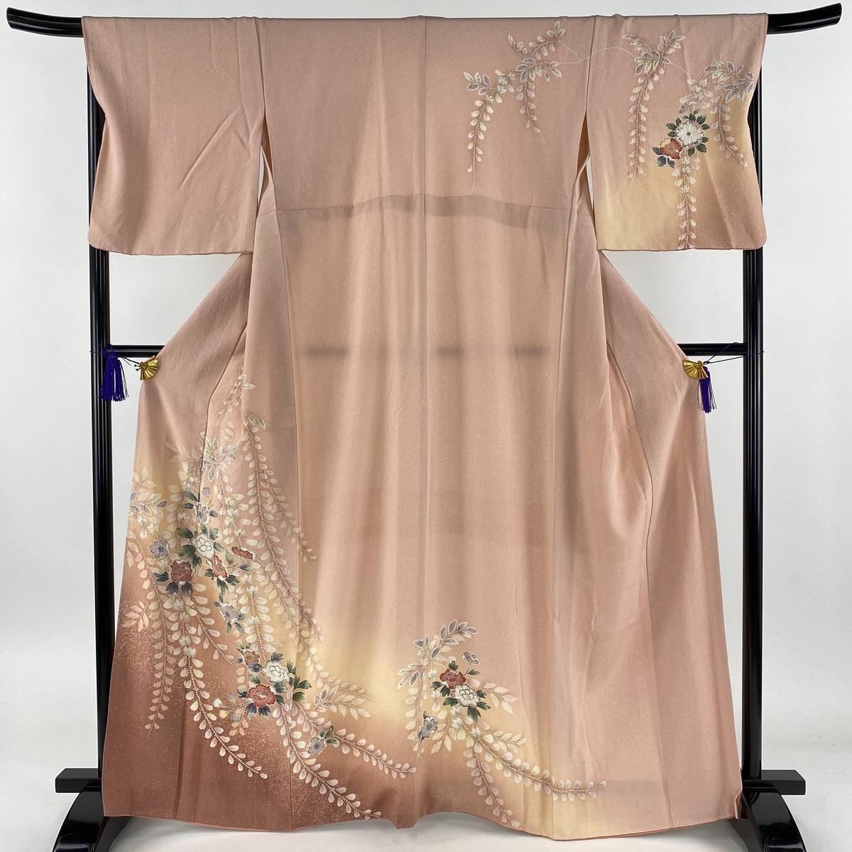 訪問着 美品 秀品 辻が花柄 絞り 染め分け ピンク 袷 身丈165cm 裄丈67.5cm L 正絹 【中古】