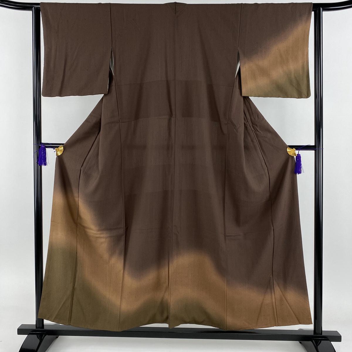 付下げ 美品 秀品 紬地 ぼかし 焦茶色 袷 身丈154cm 裄丈62cm S 正絹 【中古】