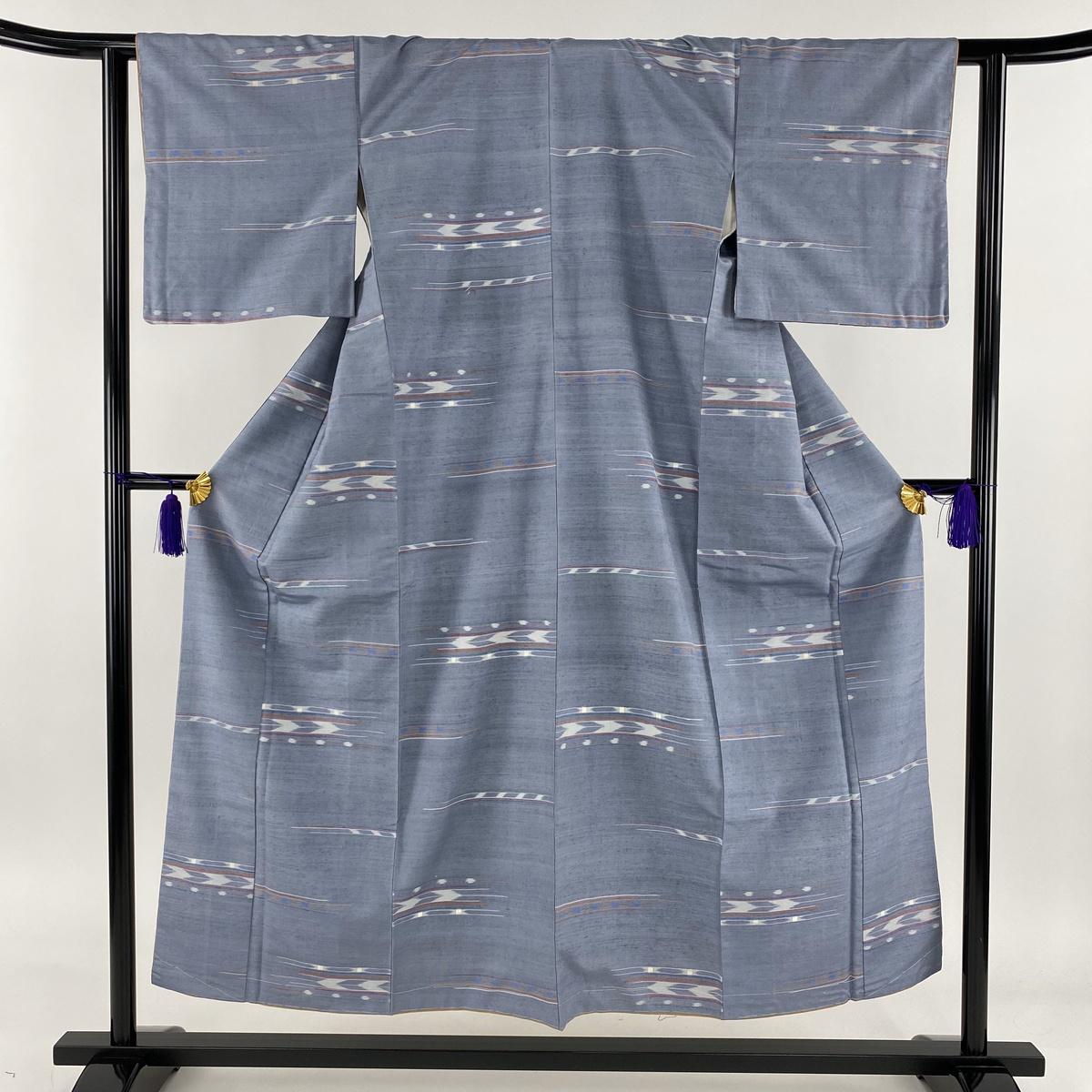 紬 美品 秀品 矢羽 幾何学 青灰色 袷 身丈152cm 裄丈62.5cm S 正絹 【中古】