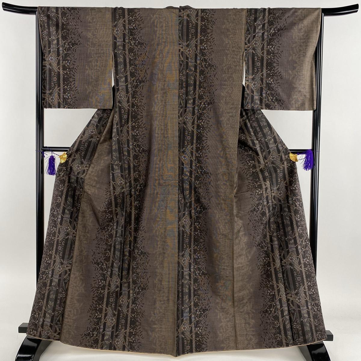 大島紬 美品 名品 草花 縦縞 カタス式 茶紫 袷 身丈165cm 裄丈66cm M 正絹 【中古】