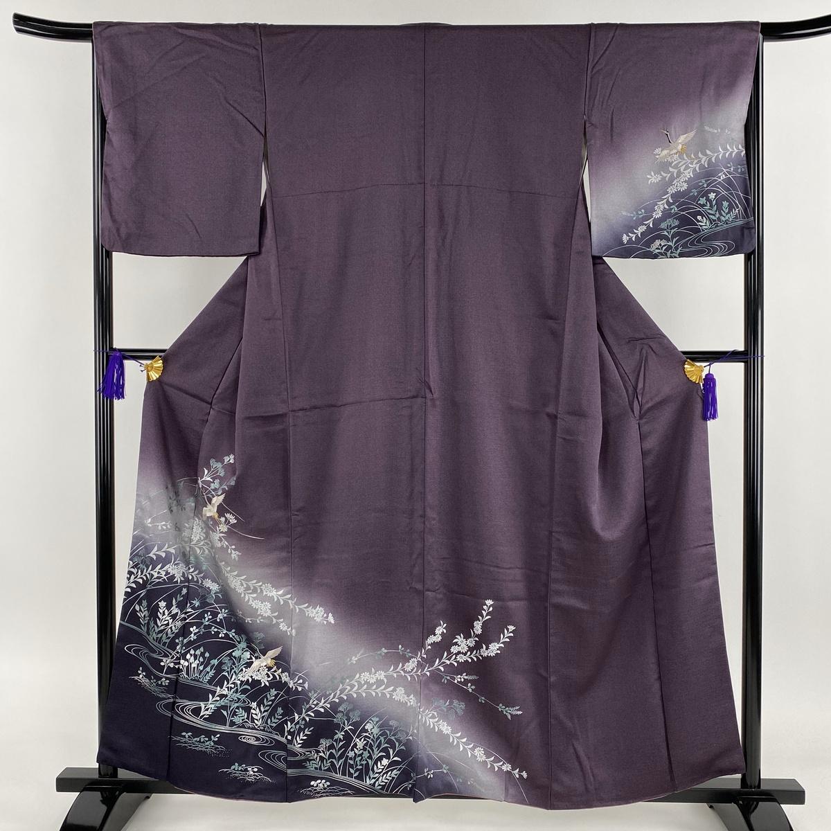 訪問着 美品 名品 草花 鶴 金糸 刺繍 紫 袷 身丈159cm 裄丈65cm M 正絹 【中古】