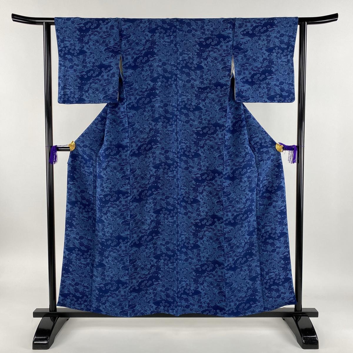 小紋 美品 秀品 雲文 草花 ちりめん 藍色 袷 身丈156.5cm 裄丈62cm S 正絹 【中古】