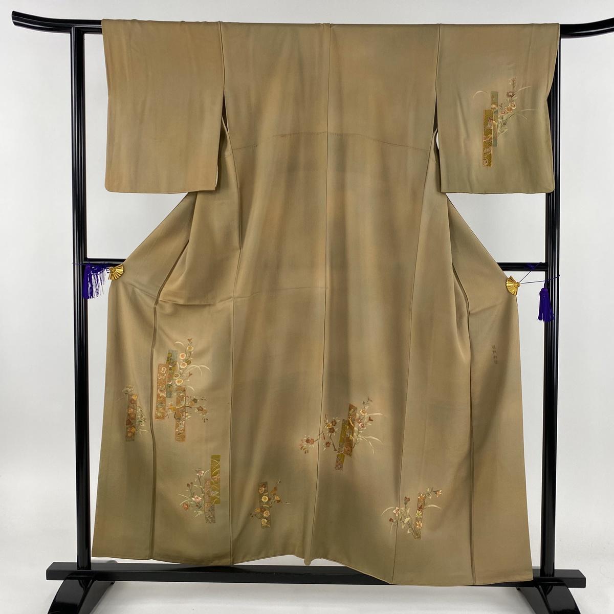 訪問着 名品 短冊 草花 蘇州刺繍 薄茶色 袷 身丈155cm 裄丈62.5cm S 正絹 【中古】