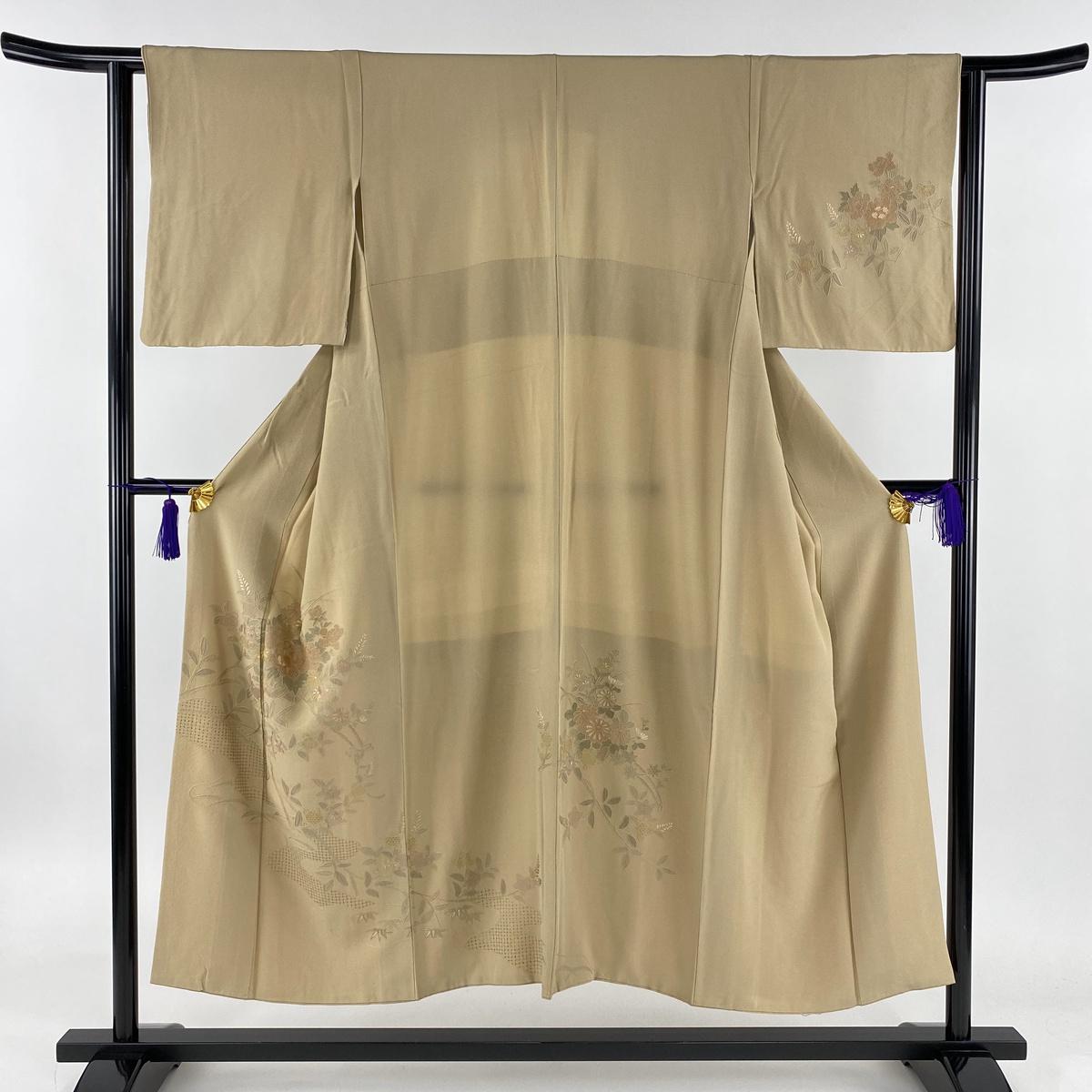 訪問着 名品 花車 流水 汕頭刺繍 ベージュ 袷 身丈148cm 裄丈61cm S 正絹 【中古】