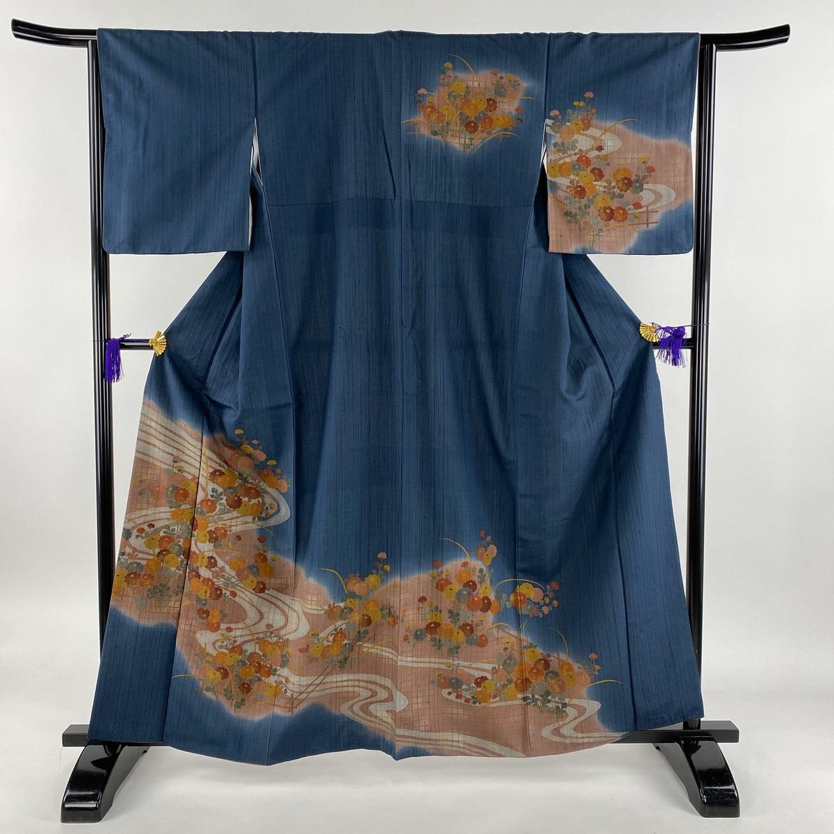 訪問着 秀品 紬地 流水 菊 ぼかし 藍色 袷 身丈161.5cm 裄丈64cm M 正絹 【中古】