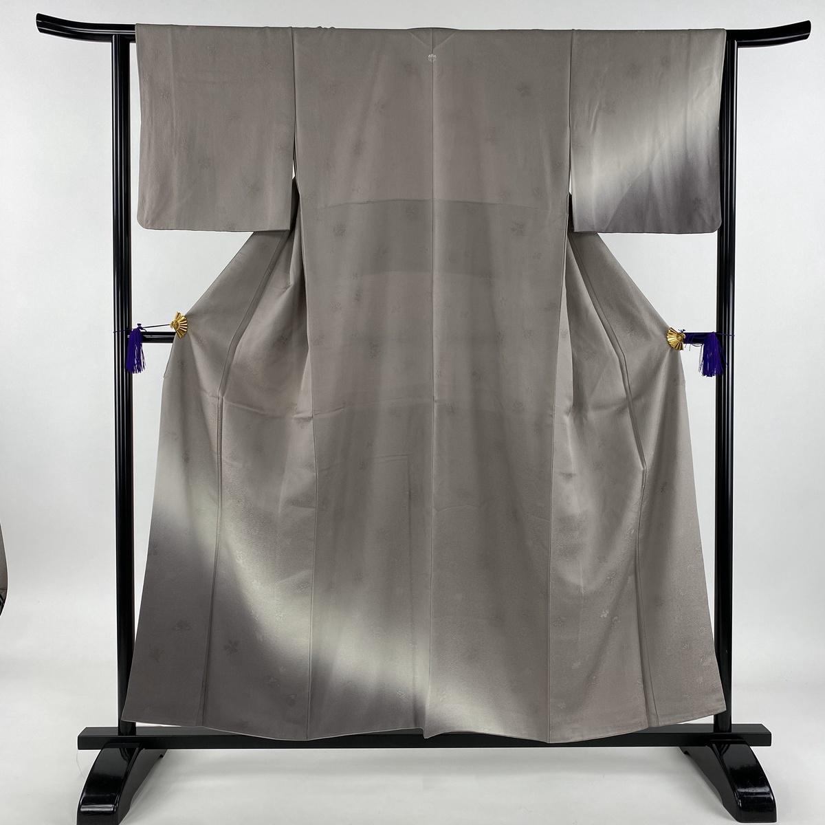付下げ 美品 秀品 一つ紋 地紋 染め分け ぼかし 灰紫 袷 身丈157cm 裄丈63cm S 正絹 【中古】