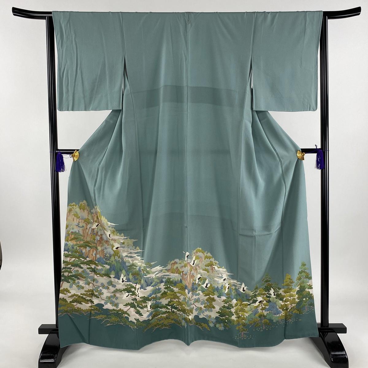 色留袖 美品 秀品 一つ紋 樹木 鶴 染め分け 薄緑 袷 身丈164cm 裄丈63.5cm S 正絹 【中古】