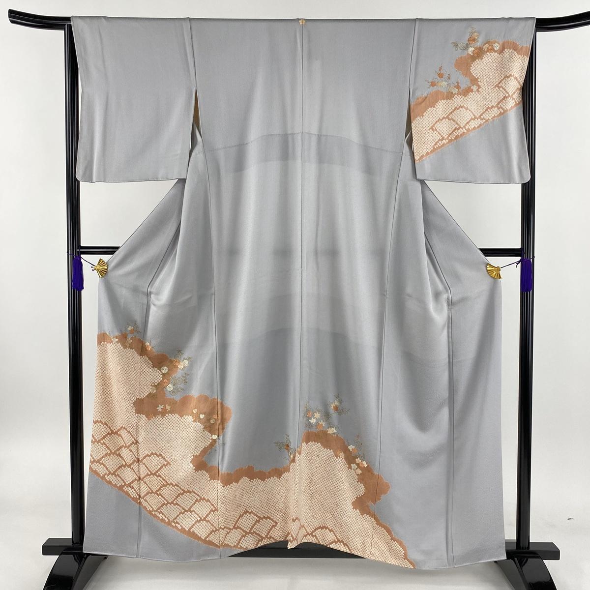 訪問着 秀品 一つ紋 草花 雲文 部分絞り 刺繍 青灰色 袷 身丈157cm 裄丈66cm M 正絹 【中古】