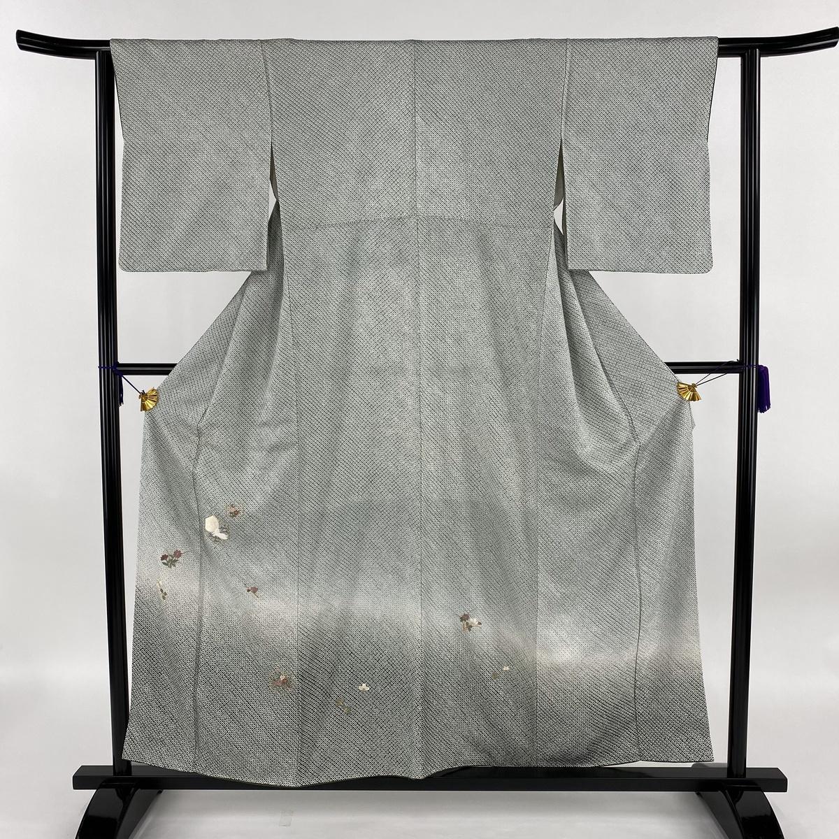 付下げ 美品 秀品 うさぎ 草花 金糸 総絞り 灰緑 袷 身丈157.5cm 裄丈60cm S 正絹 【中古】