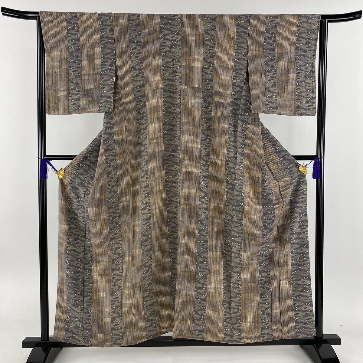 小紋 美品 秀品 縦縞 幾何学 縮緬 灰紫 袷 身丈157.5cm 裄丈64.5cm M 正絹 【中古】