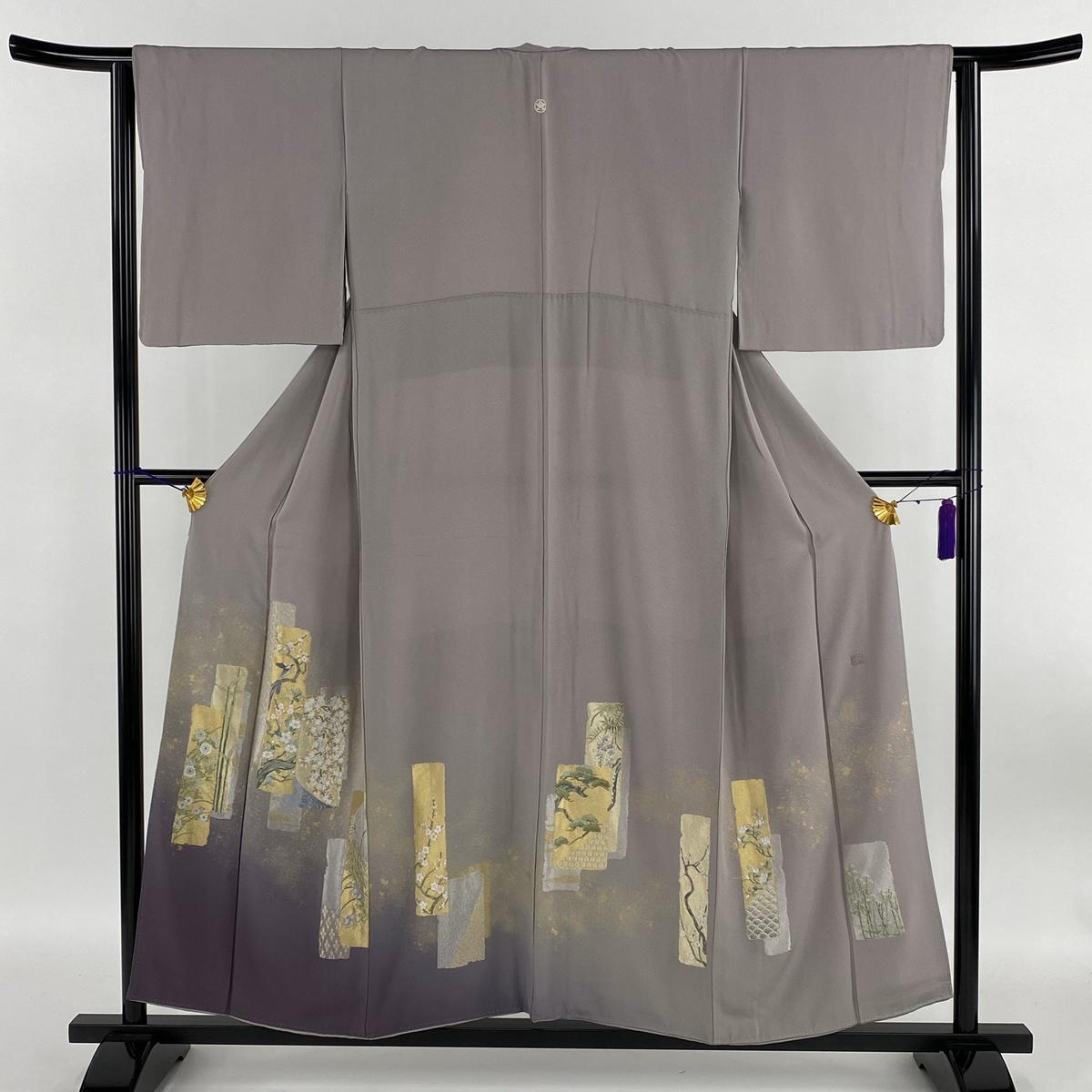 色留袖 美品 逸品 落款あり 山口美術織物 一つ紋 短冊 草花 刺繍 箔 薄紫 袷 身丈155cm 裄丈64cm M 正絹 【中古】