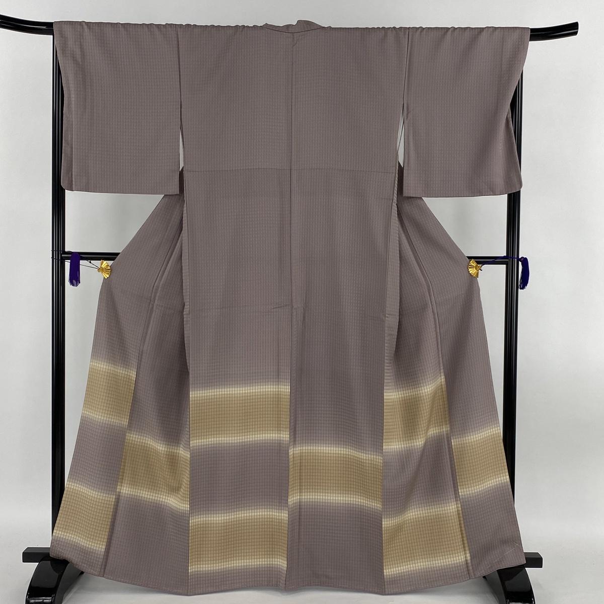 付下げ 美品 逸品 段縞 格子模様 ぼかし 薄紫 袷 身丈164cm 裄丈70cm L 正絹 【中古】