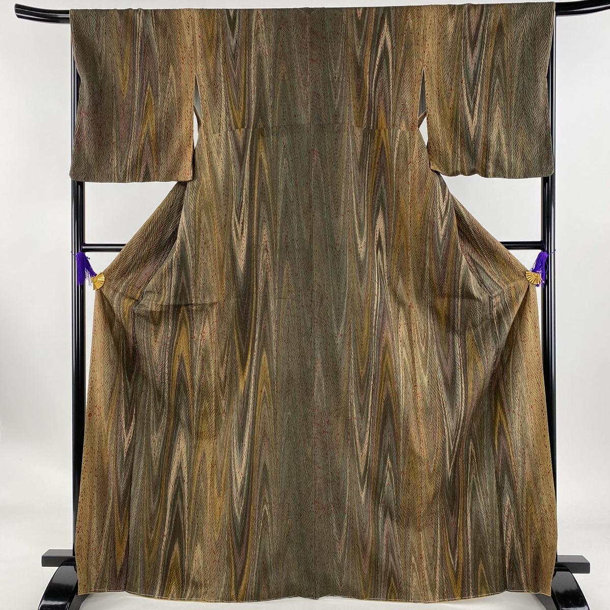 小紋 美品 名品 木目柄 縫い締め絞り 茶緑色 袷 身丈169.5cm 裄丈67cm M 正絹 【中古】